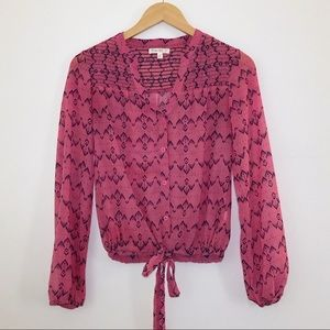 Love Fire Semi Sheer Pink Front Tie Blouse